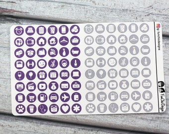Purple & Grey Lifestyle Icon Planner Stickers