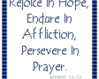 Endless Inspirations Original Cross Stitch Pattern, Romans 12:12, Instant Download, PDF Pattern