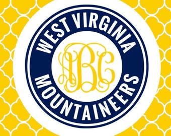 West Virginia Mountaineers Monogram -  Yeti Decal - Car Decal - Laptop Decal - WVU