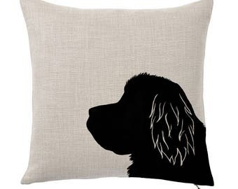 Throw Pillow Cover, Pet Pillow Cover, Newfoundland, Silhouette, Gifts for Dog Lovers, Cotton Throw Pillow, Cute Custom Pillows, Tote Tails