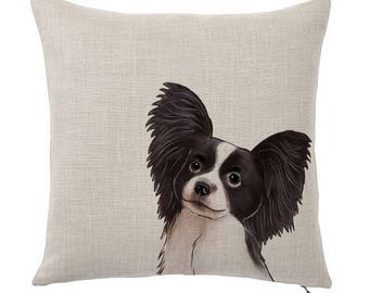 Throw Pillow Cover, Pet Pillow Cover, Black and White Papillon, Gifts for Dog Lovers, Cotton Throw Pillow, Cute Custom Pillows, Tote Tails