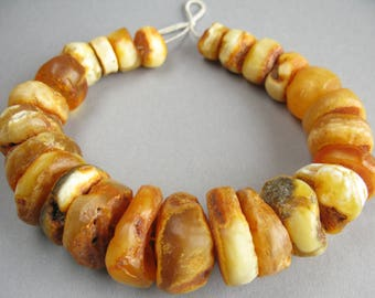 Antique amber beads, Natural amber, Big amber beads, Yellow Amber, Amber discs. FREE SHIPPING!!!