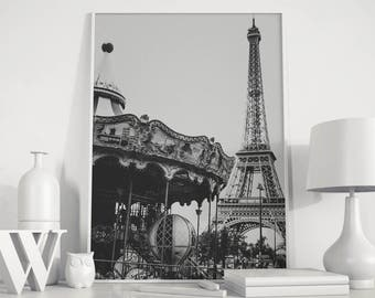 Eiffel Tower, Paris France, Black & White Paris, Paris Photography, Eiffel Tower print, Paris Photographic Print, Eiffel tower wall art