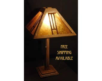 Arts and Crafts Style Mica Lamp (free shipping)