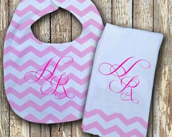 Prissy Monogrammed Baby Bib with matching Burp Cloth Set (Pink)