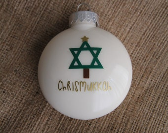 CHRISMUKKAH Christmas Hanukkah ornament. Dreidel menorah jewish christian interfaith holiday ornament