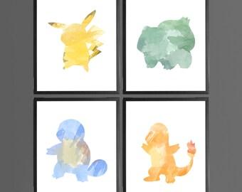 Pokemon Go Characters Modern Art Prints Watercolor - Set of 4