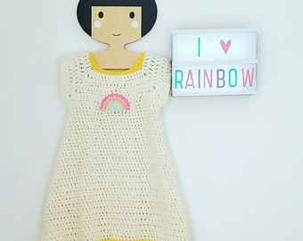 Dress Rainbow sky baby 0-24 months room Unique designer hand made in France to crochet wool soft & warm Personnalisable Vintage Retro