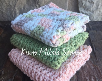 Crocheted Dishcloths - Sage Green, Peach, and Beige Variegated - 100% Cotton - Set of Three