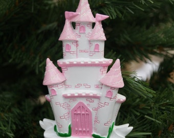 Personalised Christmas decoration, Childs princess castle decoration, family decoration
