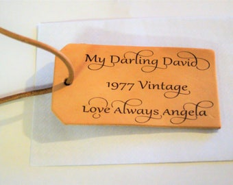 Leather luggage tag, wedding gift, luggage label, personalised tag, anniversary gift, honeymoon luggage tag, honeymoon gift,