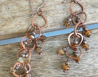 Almond Toffee Red copper Handmade Earrings