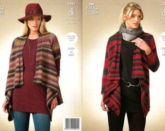 "King Cole Knitting Pattern 3481~Waterfall Cardigans~DK~32-50"""