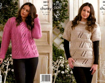 """King Cole Knitting Pattern 3815~Lacy Sweaters~Super Chunky~32-44"""""""