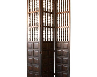 Vintage Hand-Carved Mahogany 3-Panel Room Divider / Carved Wood Screen