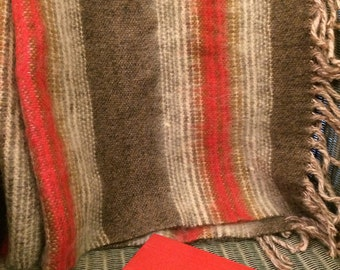 Vintage Striped Pure Welsh Wool Fringed Blanket - Vintage Throw - Red and Taupe / Gray - Dyffryn Mill Wales - Cymru.
