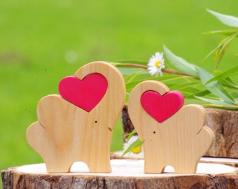 Wooden elephant with heart, safari nursery decor baby shower favors, cake topper elephnats, father son, mother daughter, wood metamorphosis