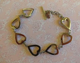 Vintage Cookie Lee Bracelet, Silver Heart Bracelet, T Bar Bracelet, Silver Bracelet, Articulated Bracelet