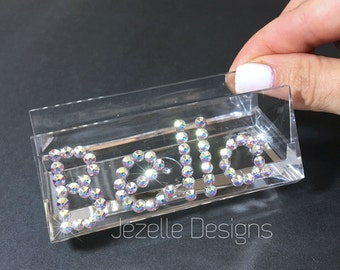 Personalized Swarovski Business Card Holder - Hand Jeweled Acrylic Clear Business Card Holder w/ Swarovski Crystals by Jezelle Designs