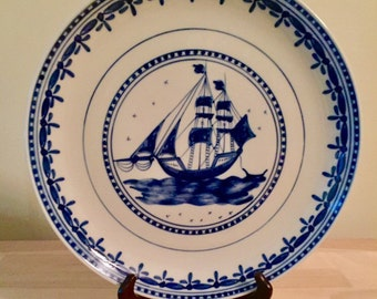 "12"" Vintage Blue And White Ship Plate (Made In Portugal)"
