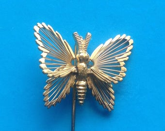 Gold Butterfly Stickpin/Gold Filagree Butterfly/ Lapel Pin/ Signed Monet/ Hat Pin - 1980's