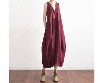 Womens Summer Loose Fitting Retro V Neck Sleeveless Linen Dress Robe With Pockets, Long Dress, Sundress For Women,Casual Dress, Travel Dress