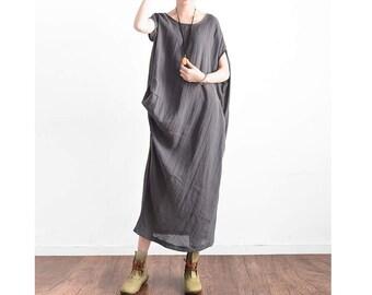 Womens Summer Loose Fitting Round Collar Asymmetric Batwing Sleeve Texture Cotton Linen Dress, Womans Long Dress, Casual Dress, Bust>130CM