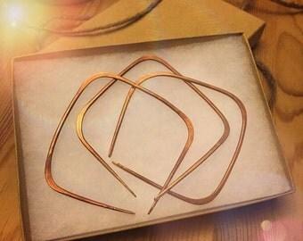 Copper Bracelet - 3 Hammered Copper Bangle set - Rustic, Tribal, Earthy, Boho, Hippie, Festival, Metal, Simple bracelet set