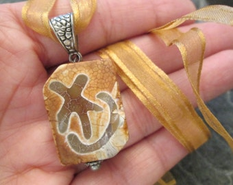 Vintage Symbol Stone Amulet>> Different> new old stock>> Good Fortune>> Earth Colors