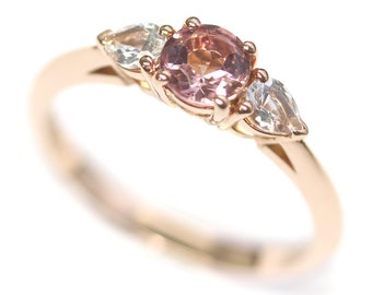 Handmade 18ct Rose Gold Classic Trilogy Ring with Pink Tourmaline and White Sapphires