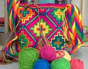Colombian Wayuu Mochila Crossbody Bag/Handmade/Fuschia,Orange,Yellow,Green and Blue/Travel Tote/ Original 100% Wayuu Knit/ Durable Cotton