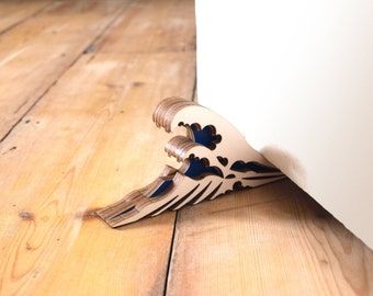 La grande vague de Kanagawa butoir de porte en bois