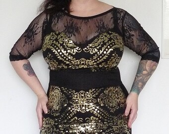 Gold and Black - Sequins - Black Dress - Holiday Dress - New Year's Dress - Rockabilly Clothing - Pin Up Dress - Plus Size Fashion - XL XXL