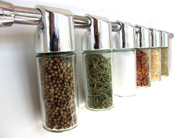Totemspice chrome spice rack  - hanging modern spice rack - empty containers, no spice