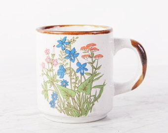 Mug Floral Boho Vintage tasse en ceramique / Tropical feuille tasse / café Mug en céramique Mug / tasse poterie florale impression tasse / Tropical Decor