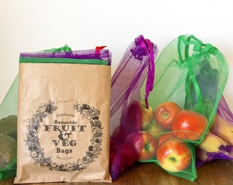 Pack of 4 reusable grocery produce bags - reusable grocery bags - reusable produce bags -reusable shopping bags - mesh grocery bags