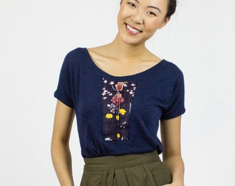VENTE Sparrow scoop t-shirt tee-shirt imprimé mignon Nani Iro, top mode Eco, haut en jersey coton bio bambou