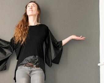 Asymmetrical black kimono tunic