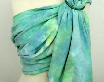 READY TO SHIP -Broken twill ring sling -100% organic cotton- handyed- baby wrap - blue, green, aqua, yellow