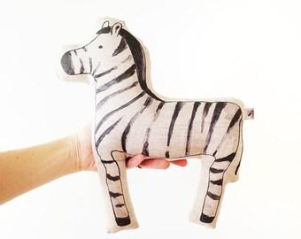 LINEN ZEBRA. stuffed toy, linen animal, woodland toy, gift for children