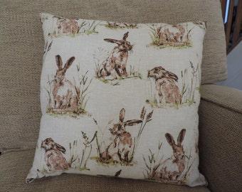 Hare cushion cover. Handmade