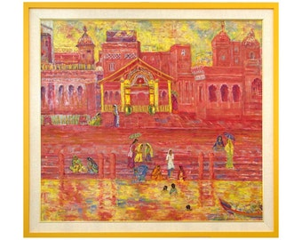 "Art giclee painting, fine art print, modern painting, wall art print, red yellow, abstract art print, MarilionFineArt, ""VARANASI GHAT"""