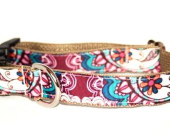 Raspberry Paisley Dog Collar   Paisley Leash   Paisley Harness   Personalized Dog Collar   Dog Collar for Girls