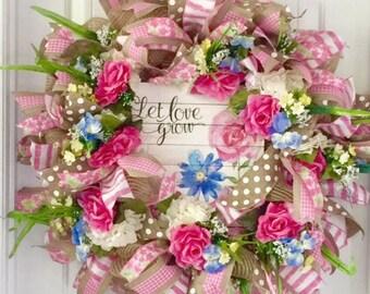 Summer Wreath For Door, Wreath For Summer, Summer Wreath, Summer Floral Wreath, Summer Door Wreath, Front Door Wreath, Summer Door Decor