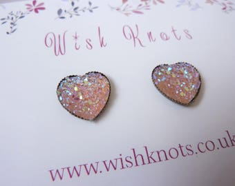 Sparkly Glitter Heart Stud Earrings / Peach Pink /Faux Druzy Heart Studs / Sparkle Stardust Galaxy Jewellery / Bright Colourful Jewelry Gift