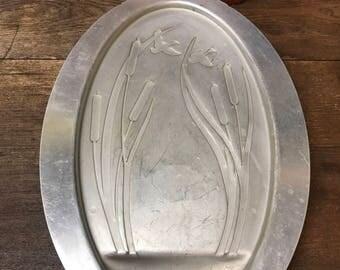 Vintage Platter Tray Meat Tray Aluminum Ducks Cat tails
