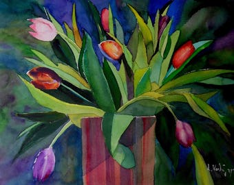 Tulips original watercolor (12'' x 16'') / (31 x 40 cm)