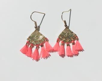 EARRINGS ALMA - neon coral