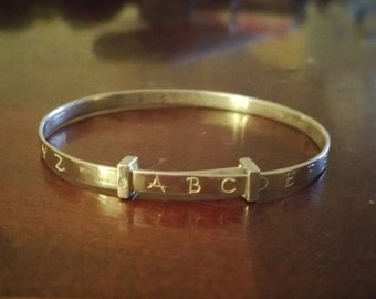 Vintage Sterling Silver Alphabet Adjustable Childrens Bangle