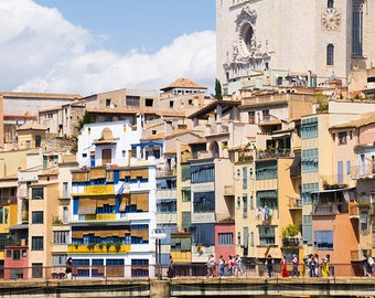 Colourful buildings of Girona-Photography print-Spain-Travel-Street photography-poster-Europe photography-Old town-Europe-Cityscape